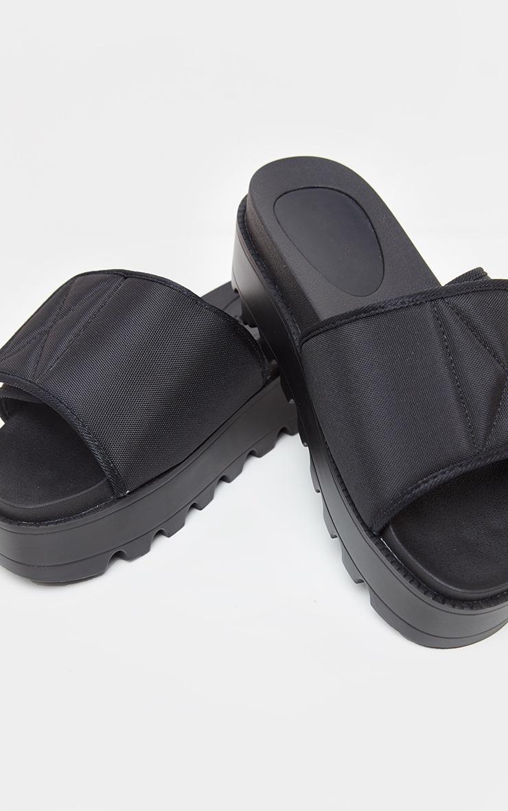 Black Velcro Strap Flatform Slider 3