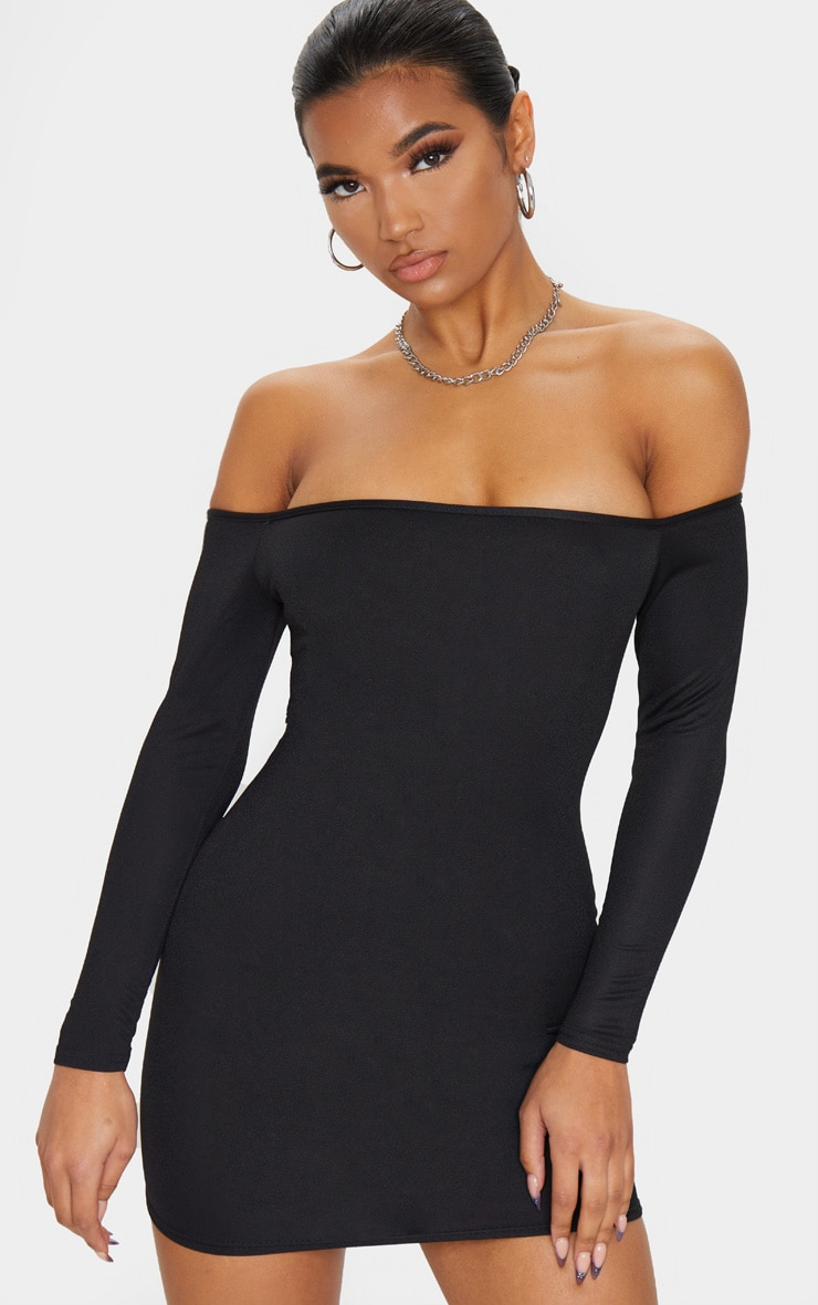 Black Bardot Bodycon Dress 1