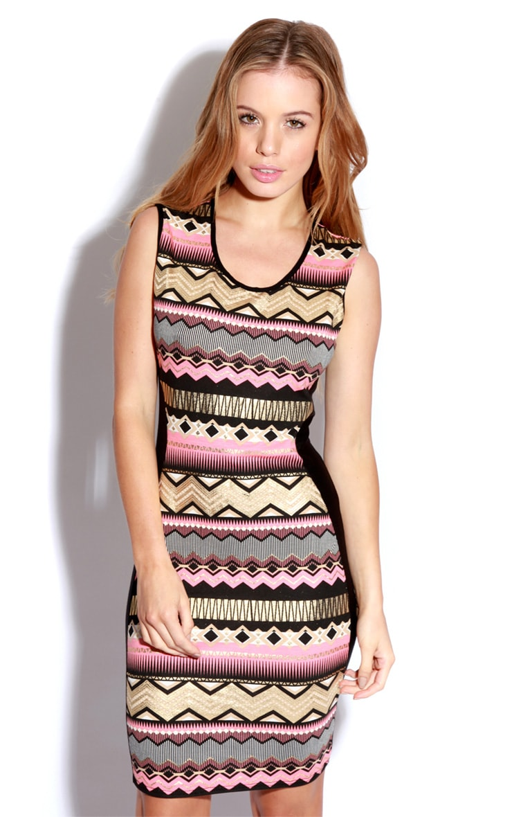 Jeena Aztec Foil Print Bodycon Dress 1