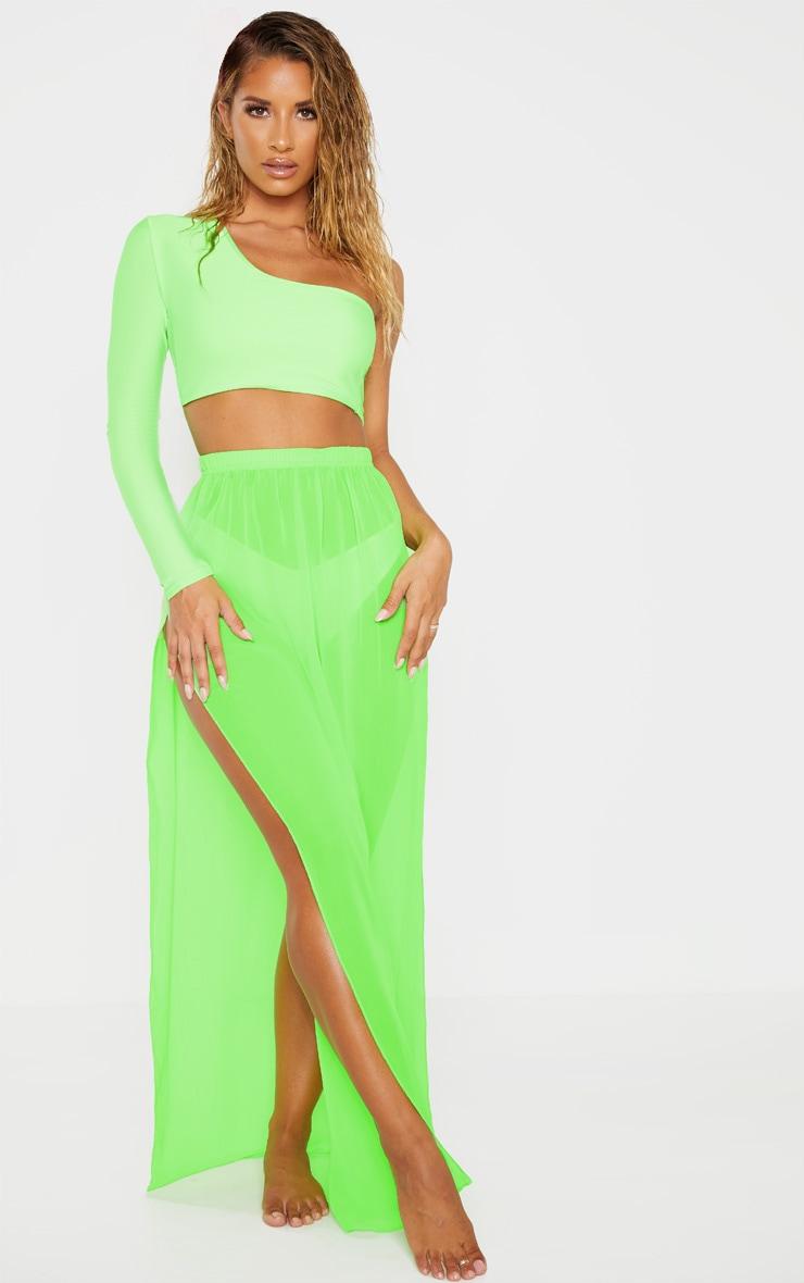 Neon Lime Chiffon Split Side Maxi Skirt 1