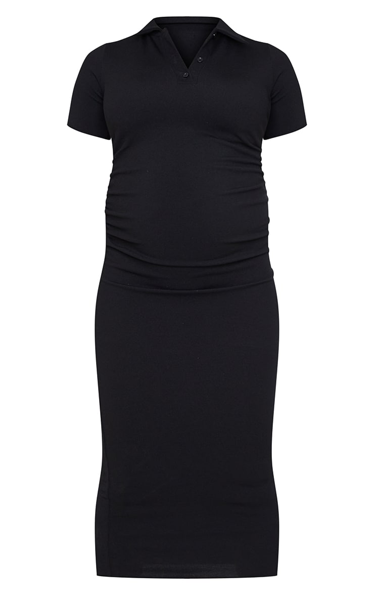 Maternity Black Ruched Side Polo Midi Dress 5
