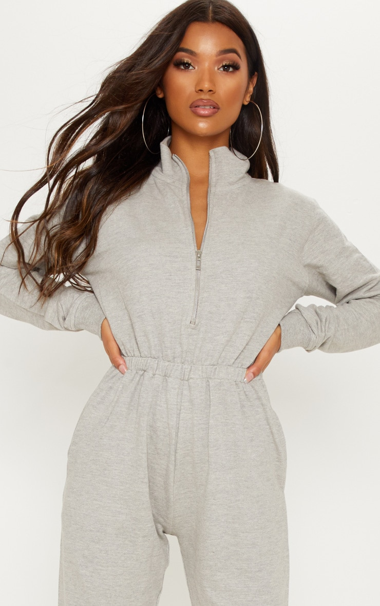 Grey Funnel Neck Zip Up Loop Back Jumpsuit 5
