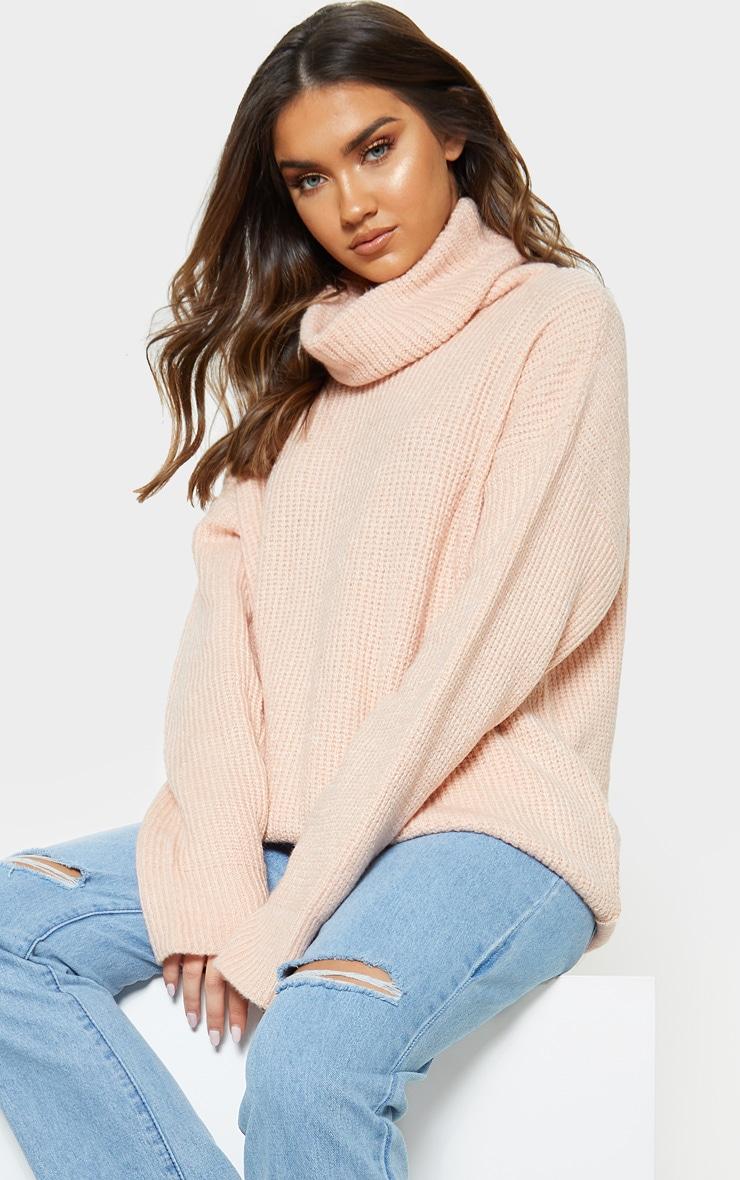 52a81496837777 Peach Laguna High Neck Knitted Jumper | PrettyLittleThing AUS