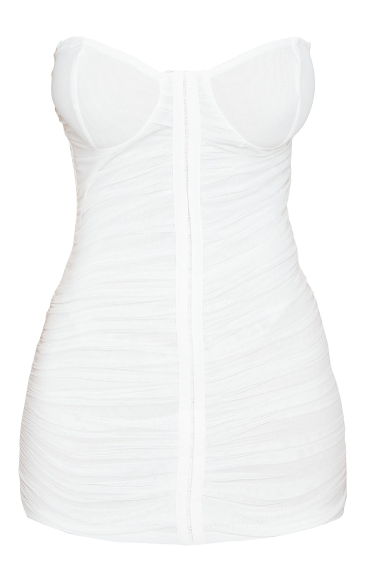 Shape White Mesh Ruched Hook and Eye Bodycon Dress 4