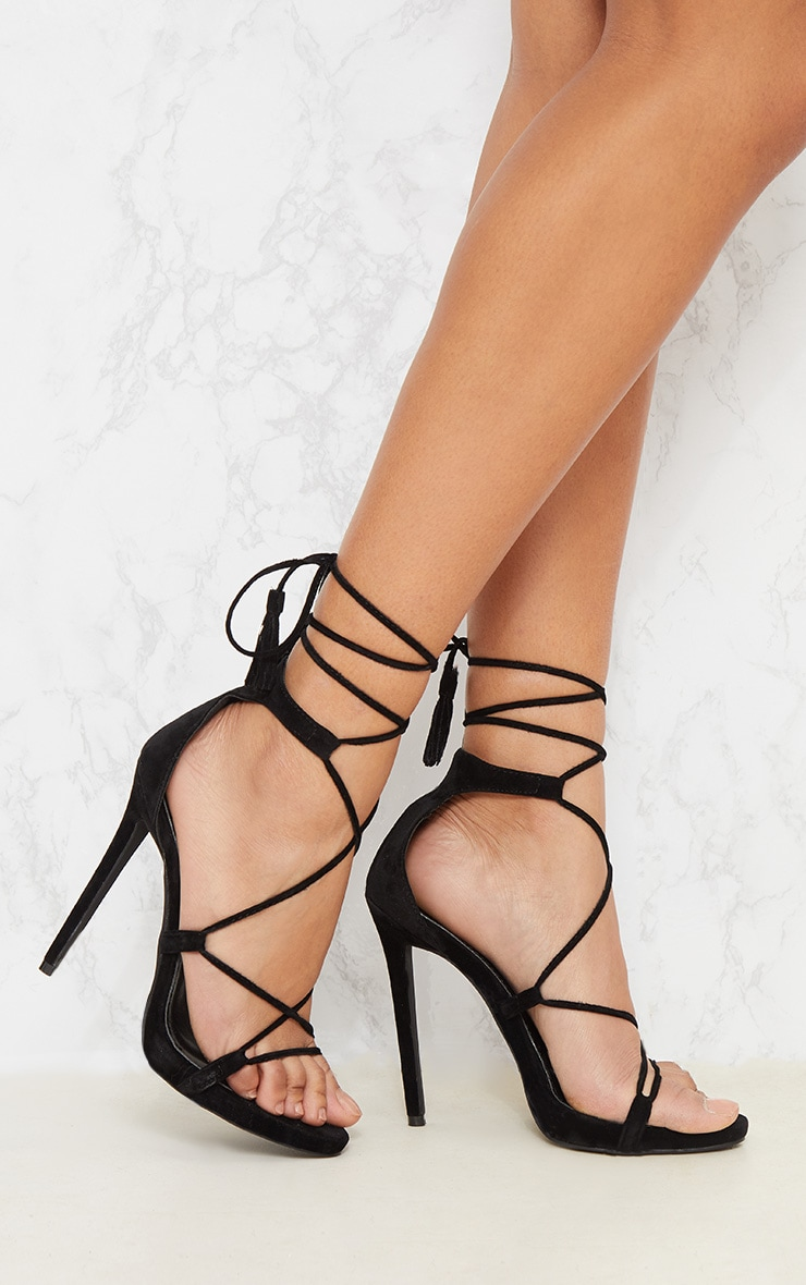 Rosaline Black Tassel Lace Up Heels 1