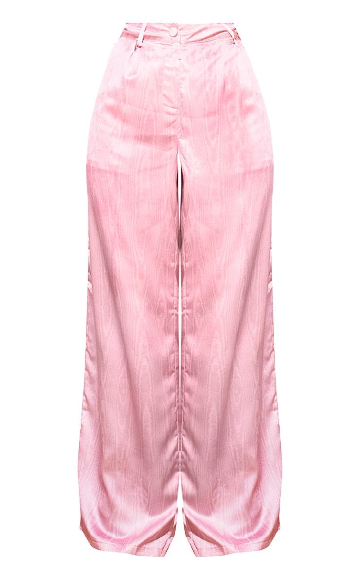 Pink Satin Taffeta Print Wide Leg Trousers 5