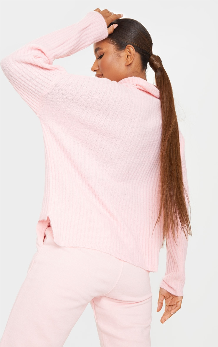 Pink Ribbed Roll Neck Textured Yarn Sweater 2