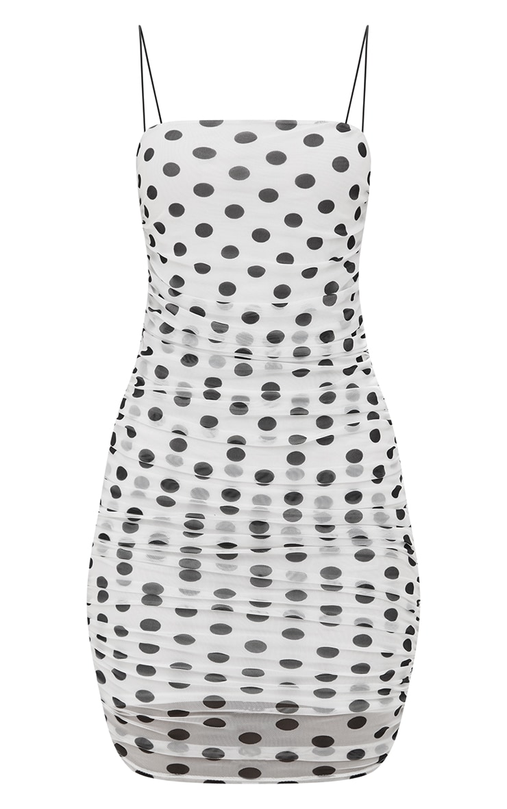 White Polkadot Strappy Ruched Bodycon Dress 4