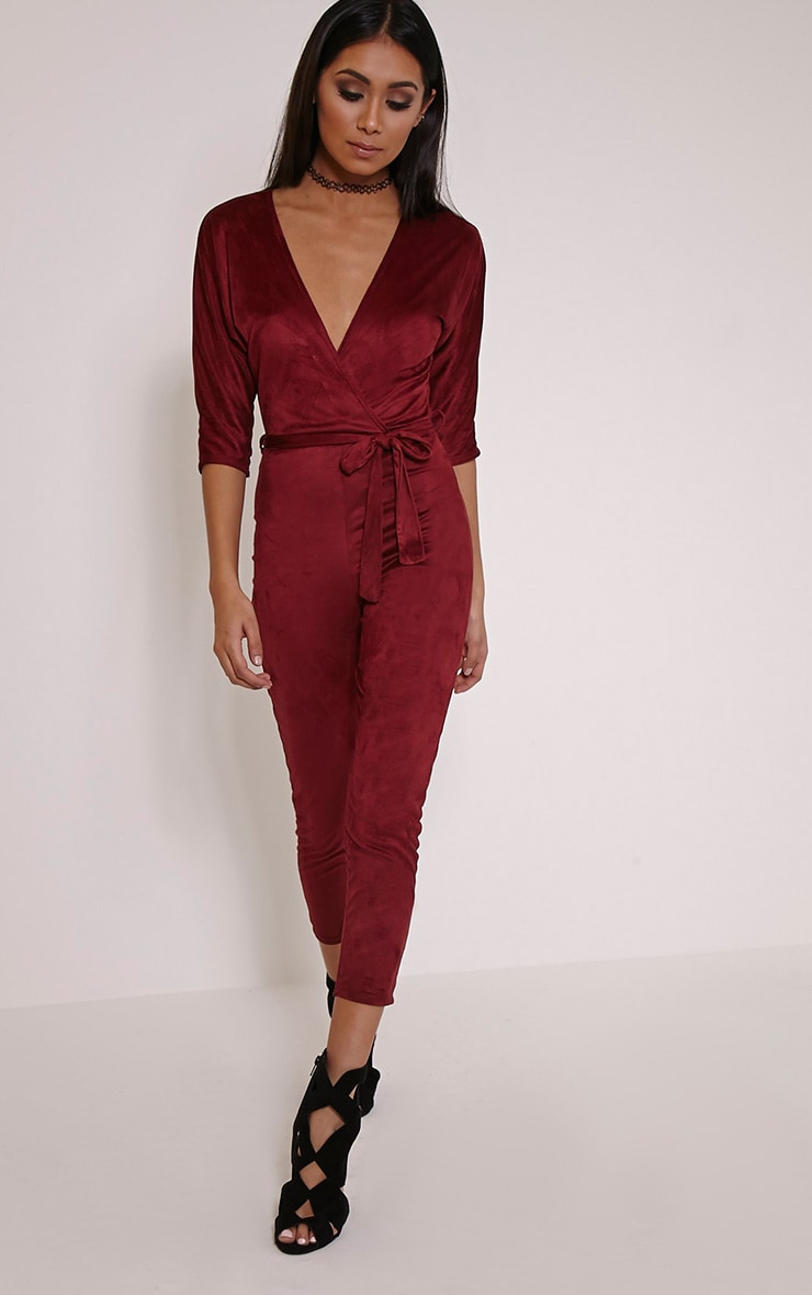 Maira Burgundy Suede Wrap Jumpsuit 4