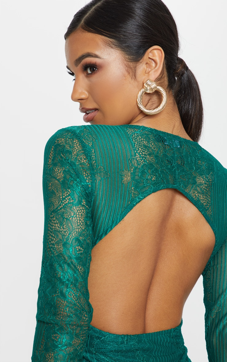 Emerald Lace Open Back Thong Bodysuit 6