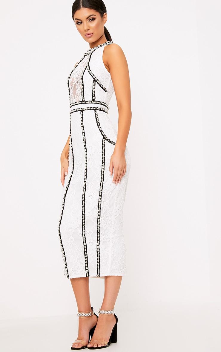 Francessia White Premium Embellished Midi Dress 3