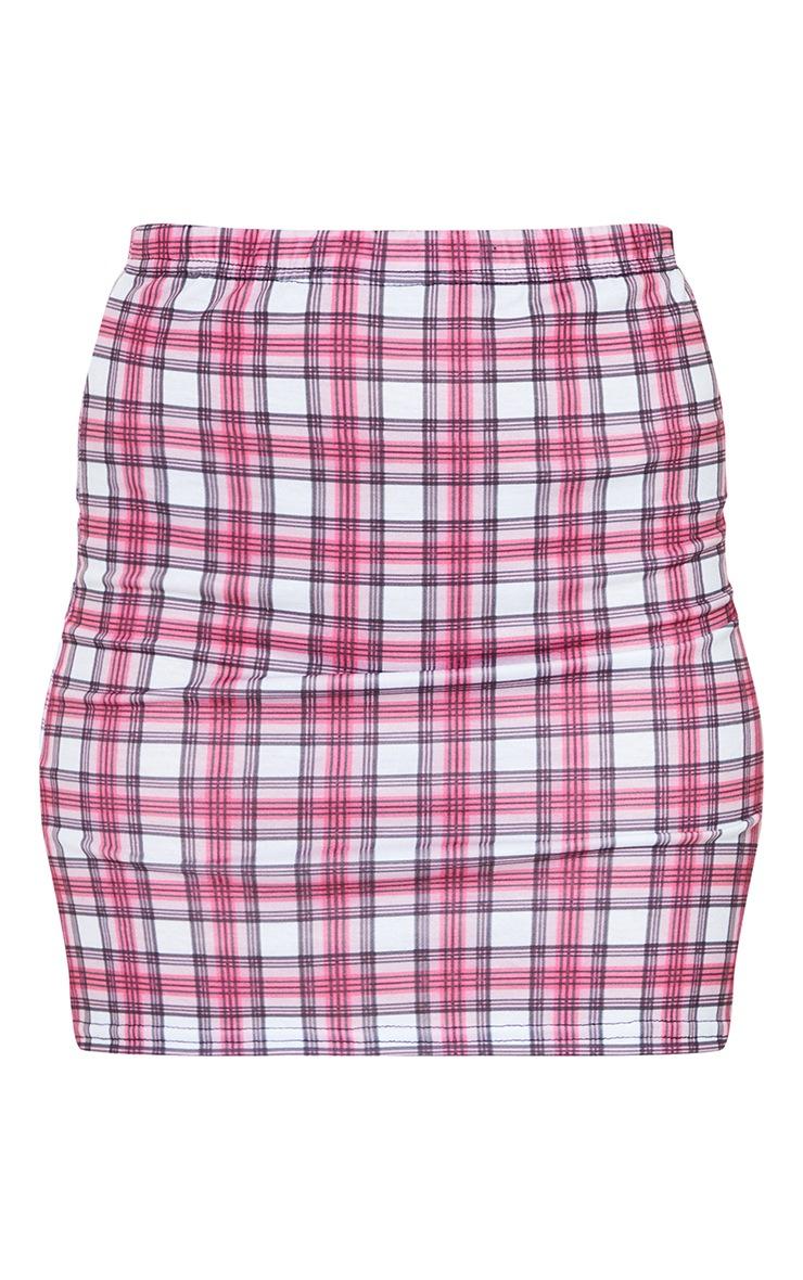 Mini-jupe rose à carreaux 6
