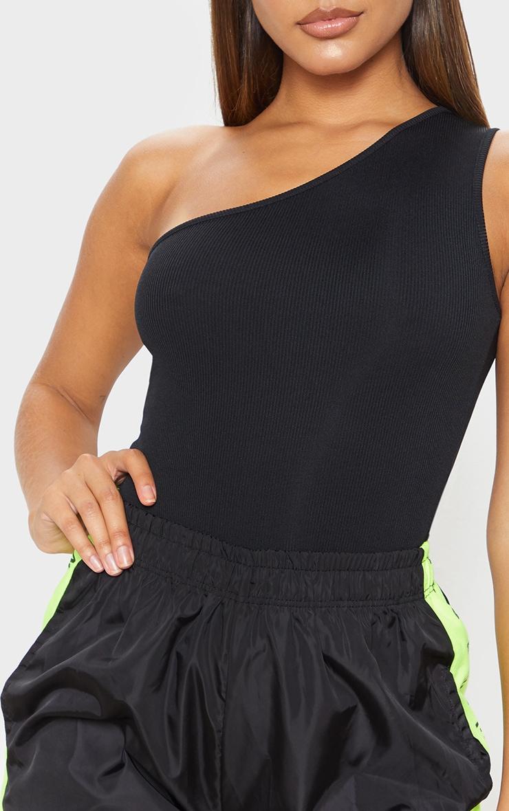 Black Rib One Shoulder Sleeveless Bodysuit 5