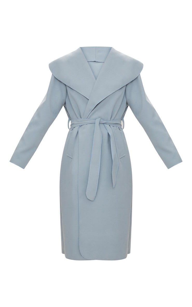 Veronica Powder Blue Oversized Waterfall Belt Coat 3