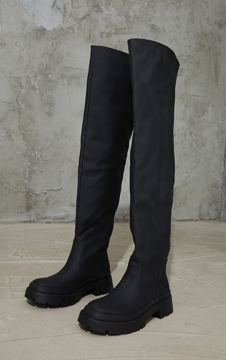 Black Thigh High Rubberised Boots 3