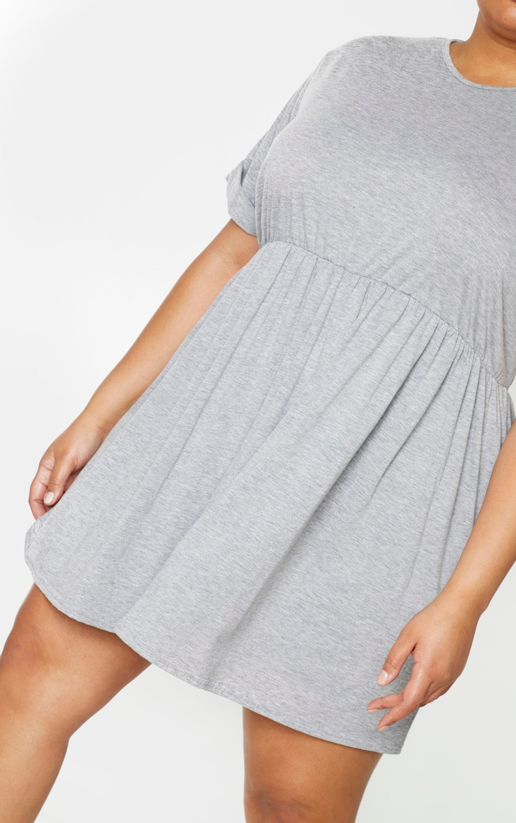 Plus Grey Marl Jersey Oversized Smock Dress 4