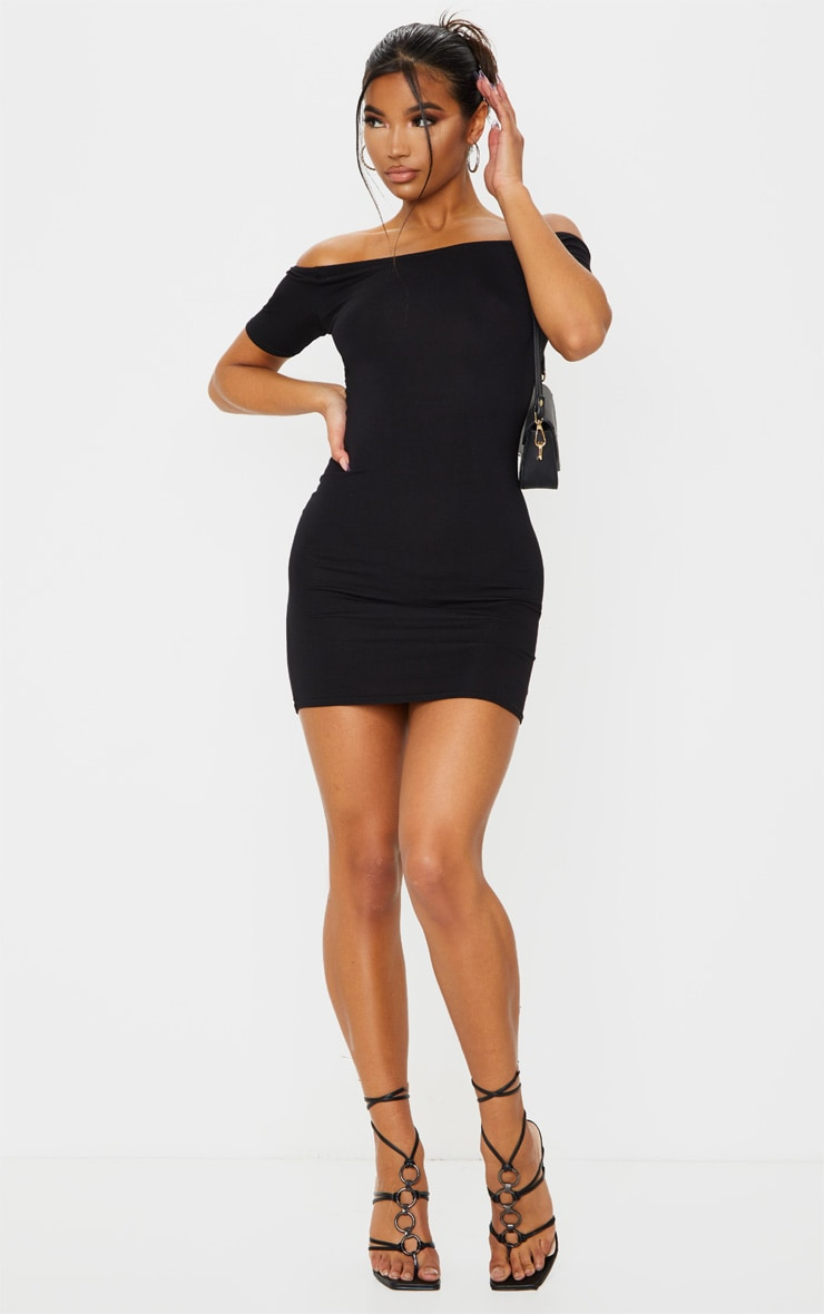 Basic Black Short Sleeve Bardot Bodycon Dress 3