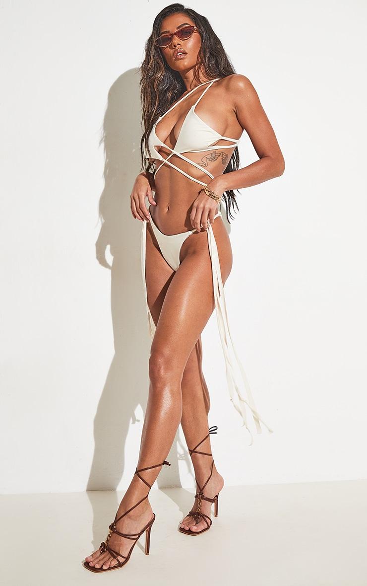 Cream Asymmetric Tassel Side Triangle Bikini Top 6