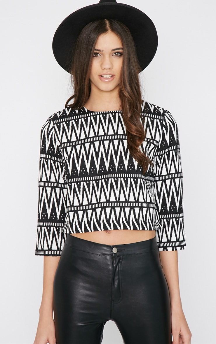Clemence Monochrome Aztec Crop Top  1