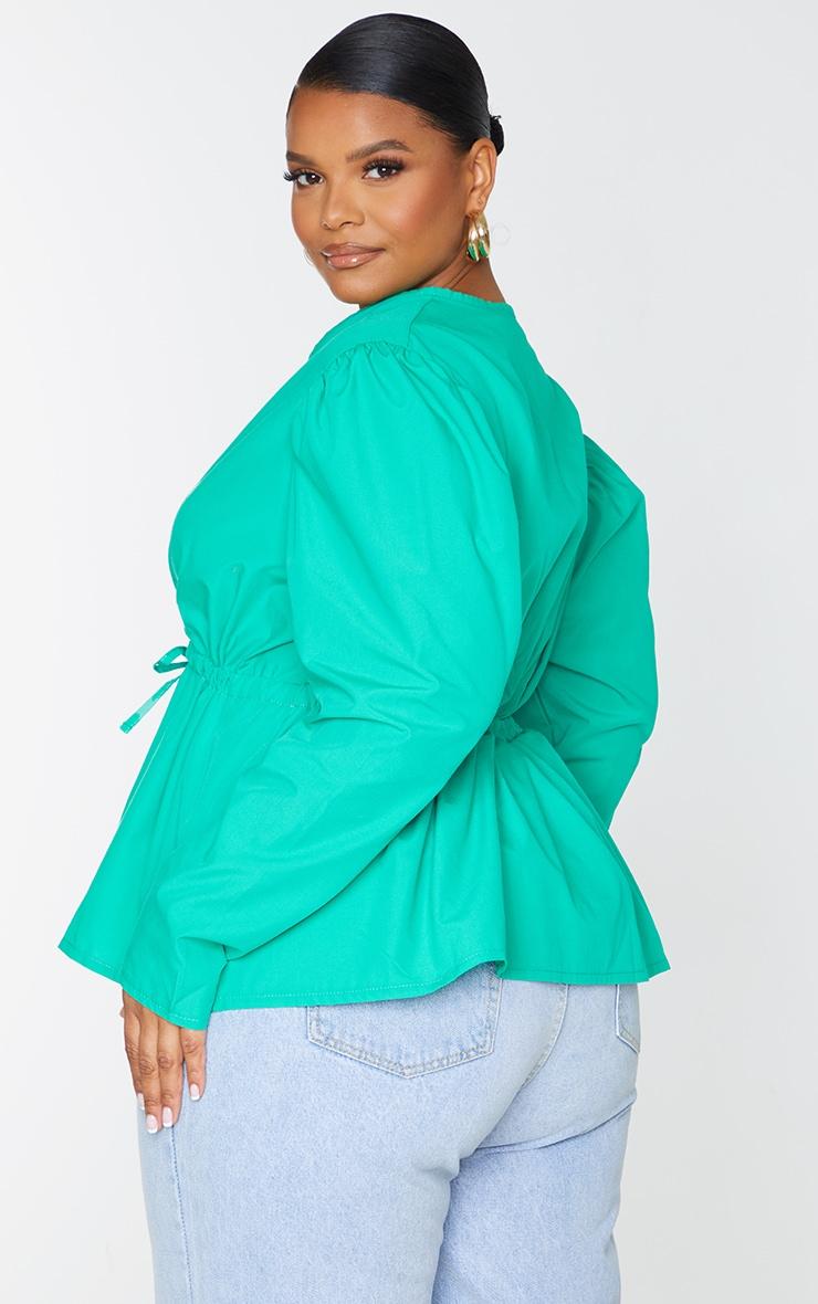Plus Bright Green Wrap Front Drawstring Waist Blouse 2
