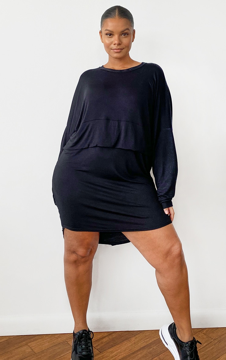 Plus Black Long Sleeve Layer Jersey T Shirt Dress 3