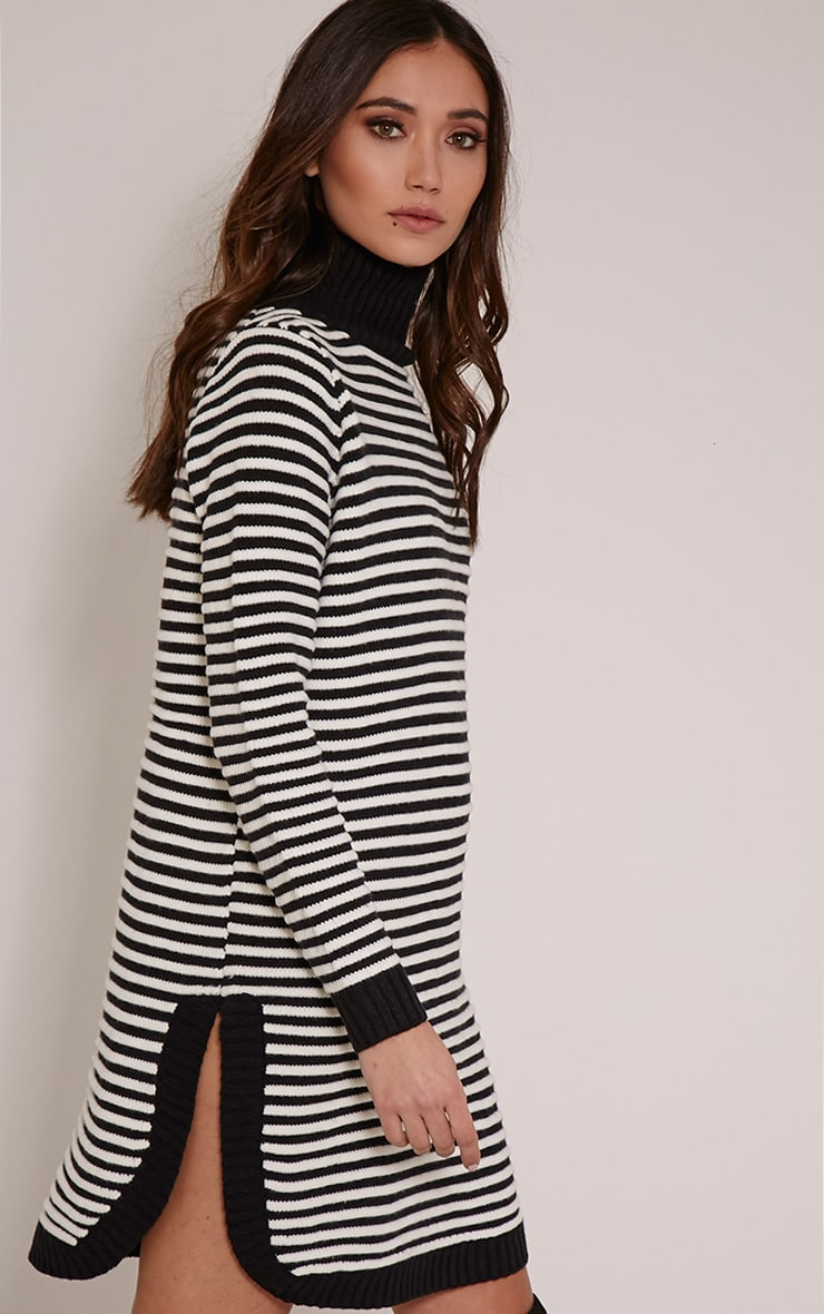Helena Monochrome Stripe Dolphin Hem Jumper Dress 4