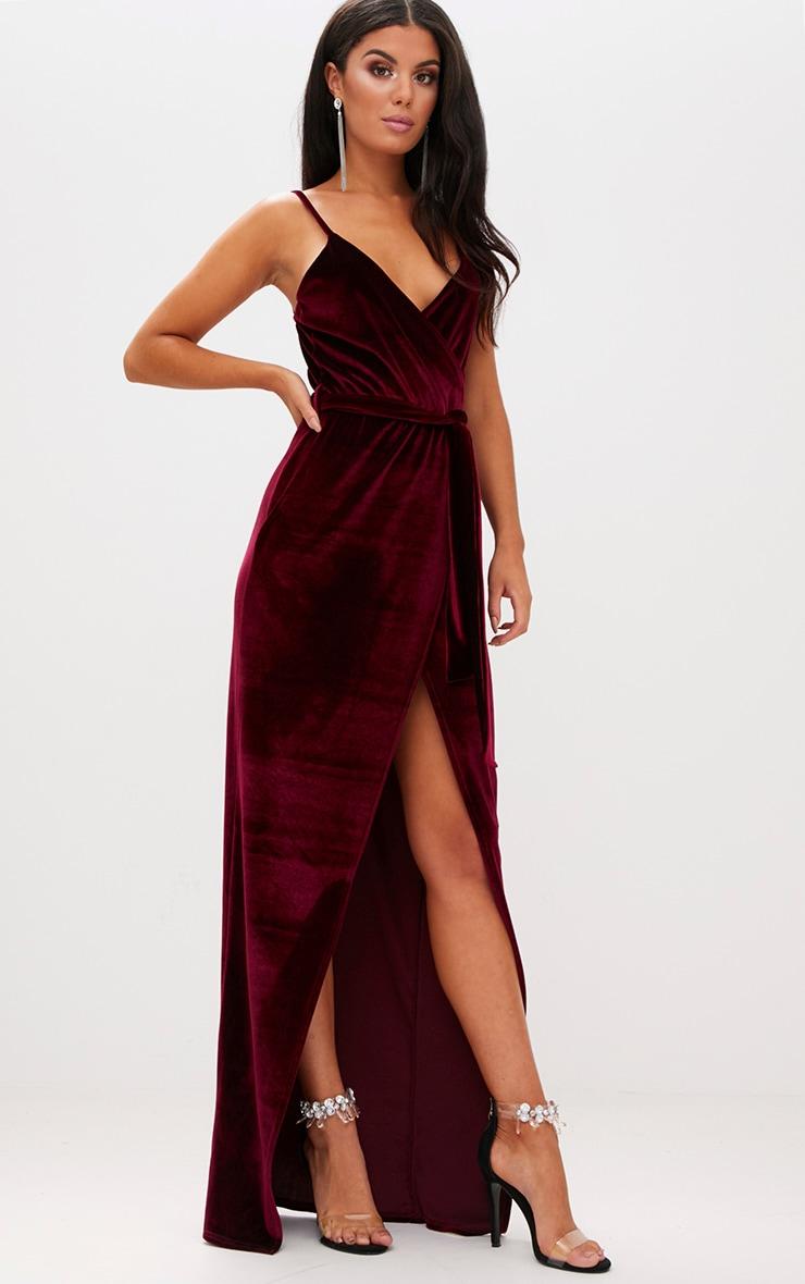 Burgundy Velvet Plunge Wrap Maxi Dress 4