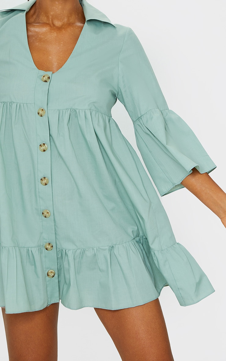 Sage Green Button Front Tiered Smock Dress 4