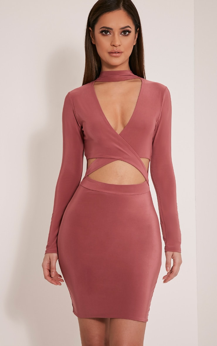 Nadeena Rose Neck Detail Cut Out Bodycon Dress 1