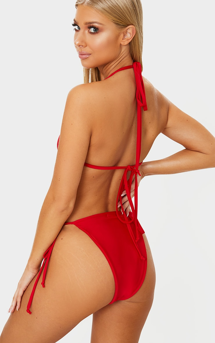 Red Mix & Match Triangle Bikini Top 2