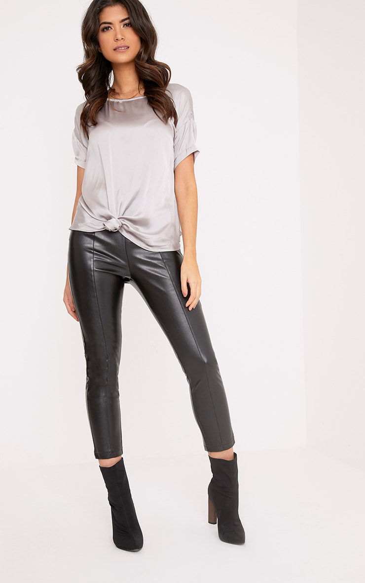 Daisy Silver Grey Satin Knot Front T-Shirt  4