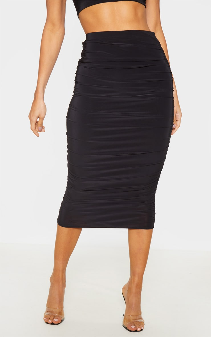 Black Slinky Second Skin Ruched Midi Skirt 2