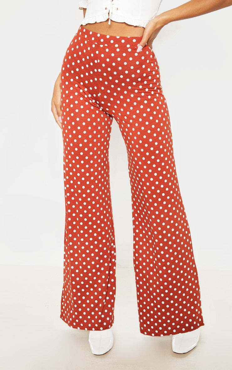 Rust Polka Dot Basic Wide Leg Pants 2