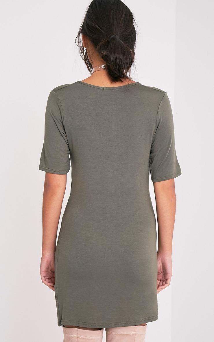 Basic Khaki Plunge V Neck T Shirt Dress 2