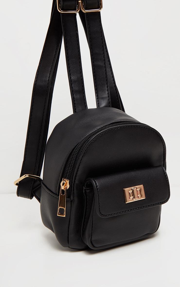 Black PU Mini Backpack 3