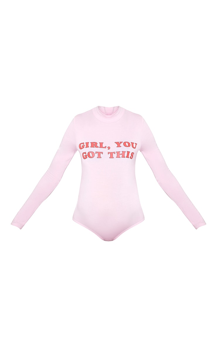 Girl You Got This High Neck Long Sleeve Bodysuit Baby Pink 4