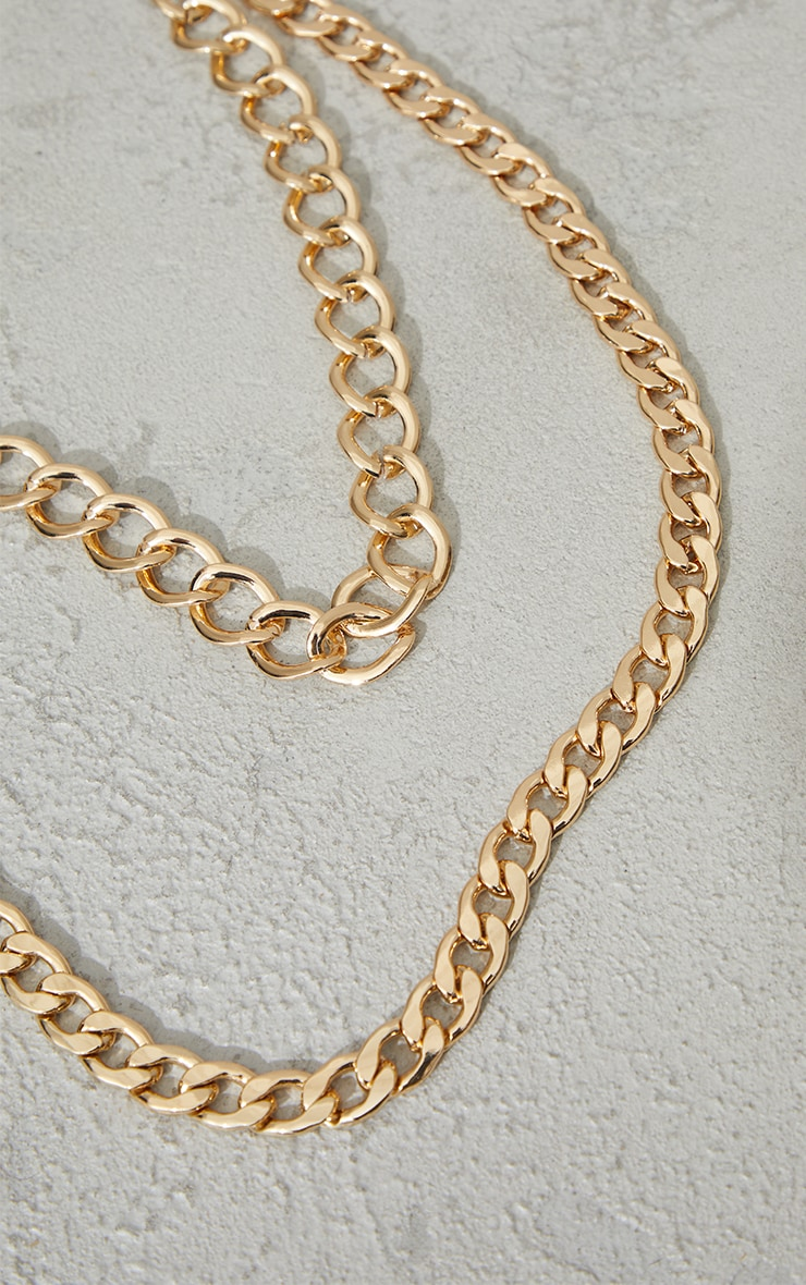 Gold Double Layered Chunky Chain Necklace 3