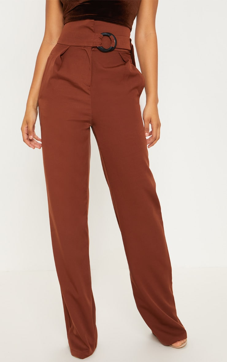 Tall Chocolate Brown Belt Ring Detail Wide Leg Pants 4