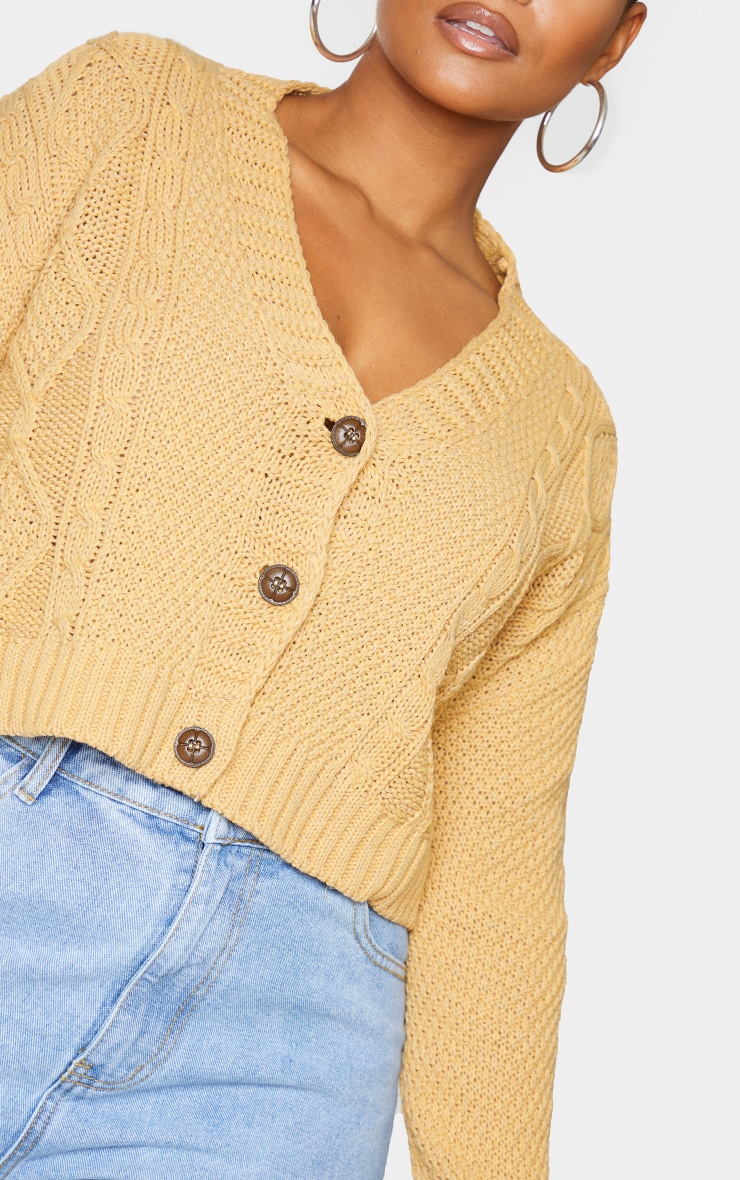 Plus Camel Cable Cropped Cardigan 4