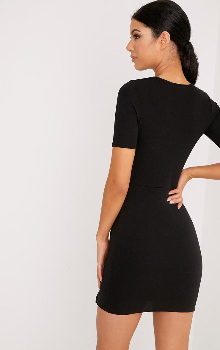 Freya Black Split Detail Capped Sleeve Bodycon Dress 2
