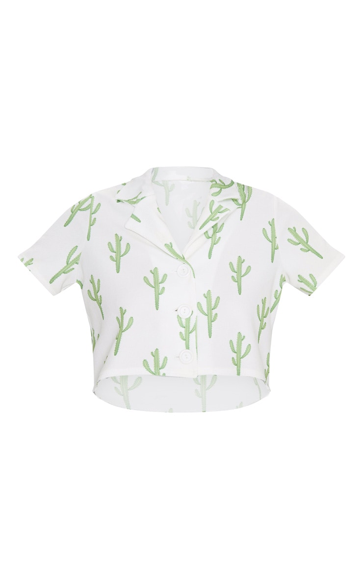 White Cactus Print Crop Shirt 3