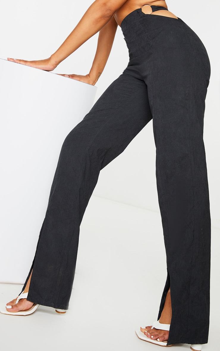 Black Woven Cut Out Ring Detail Split Hem Straight Leg Pants 4