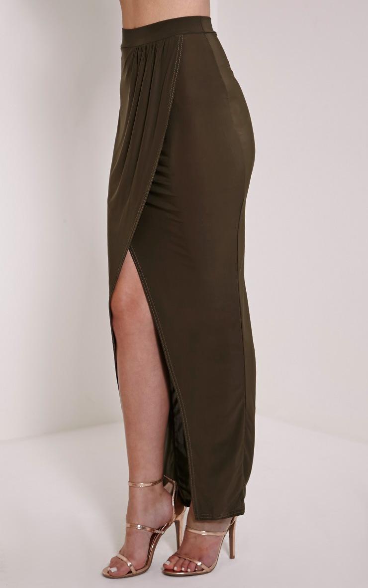 Ginevia Khaki Slinky Split Hem Maxi Skirt 4