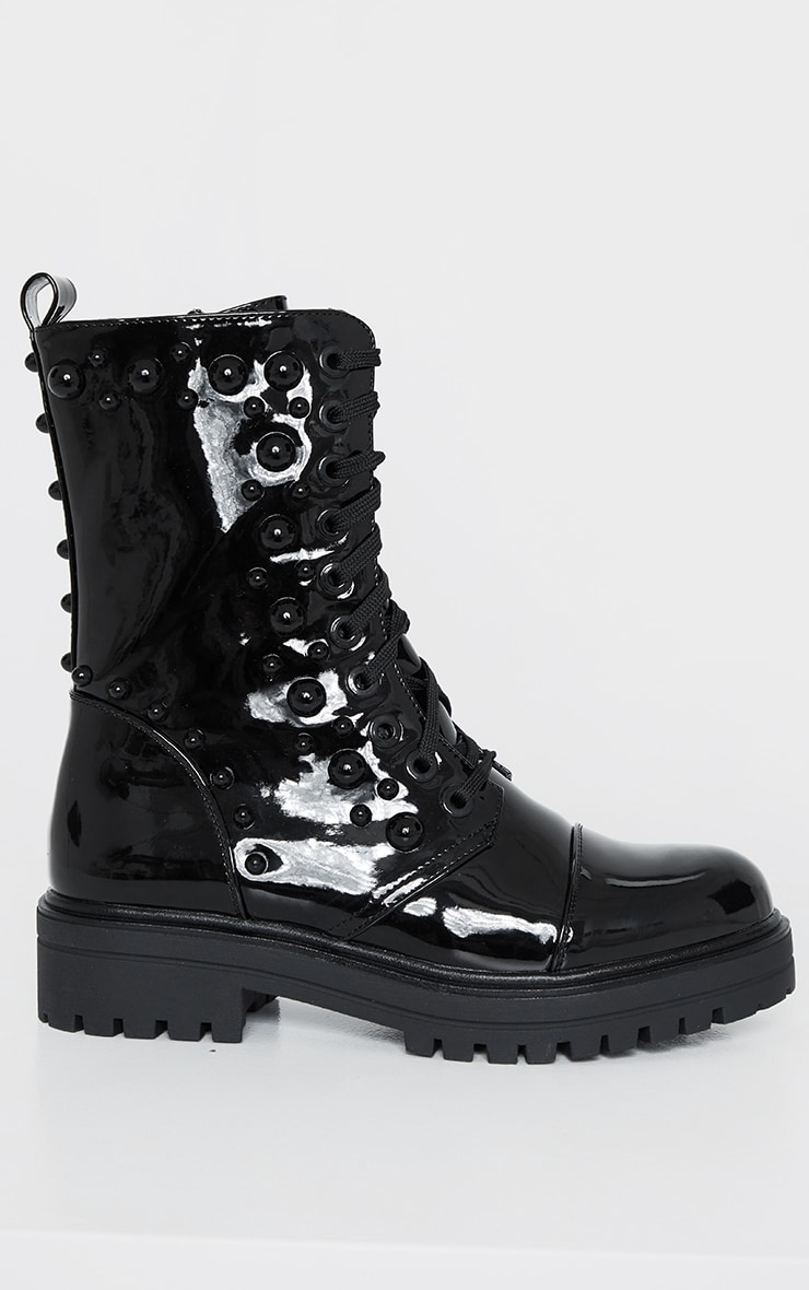 Black Dome Studded High Ankle Lace Up Biker Boot 2