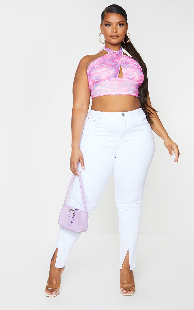 Plus Pink Abstract Print Mesh Layered Cross Front Crop Top 1