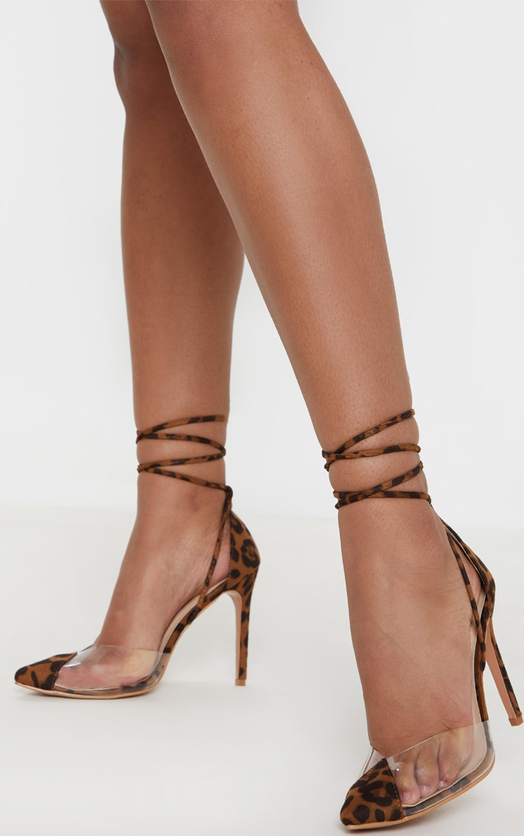 Leopard Clear Ankle Tie Court Shoes 1