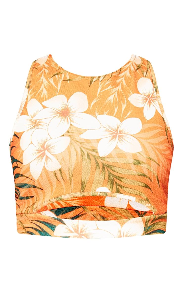 Orange Tropical Print Racer Back Crop Top  3