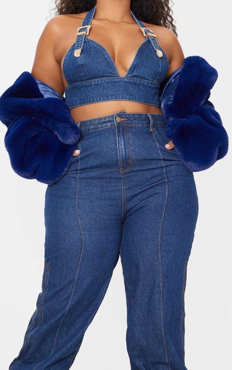 Plus Mid Wash Denim Elasticated Hem Jeans 5