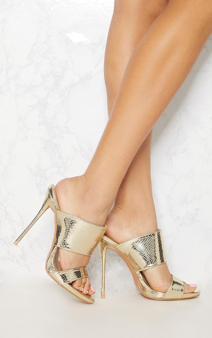 Gold Twin Strap Mule Sandal 1