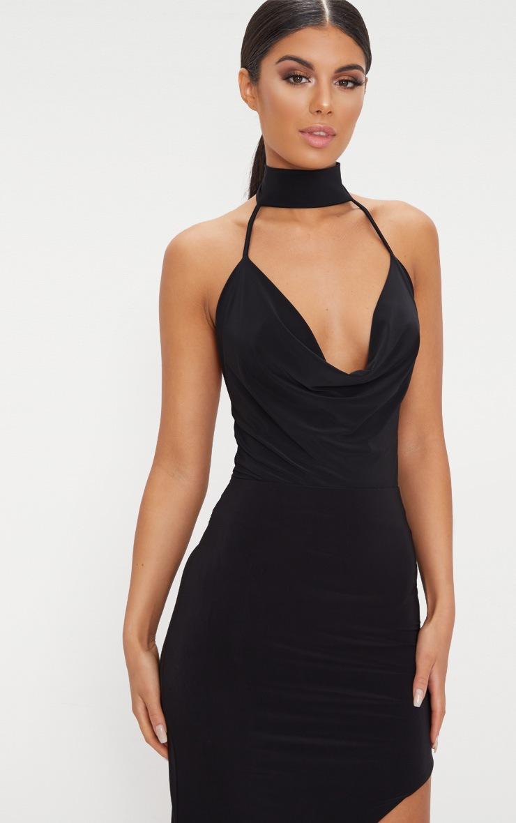 Black Cowl Neck Slinky Thong Bodysuit  2